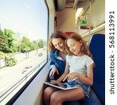 woman traveling by public... | Shutterstock . vector #568113991