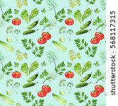 vegetable seamless pattern with ... | Shutterstock . vector #568117315