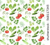 vegetable seamless pattern with ... | Shutterstock . vector #568117345