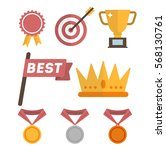 set of trophy  medal  crown and ... | Shutterstock .eps vector #568130761