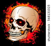 skull with glowing red eyes on... | Shutterstock .eps vector #568131025