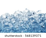 pile of ice cubes toned in blue ... | Shutterstock . vector #568139371