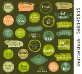 organic food labels set. vector ... | Shutterstock .eps vector #568145815