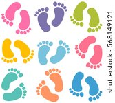 Set Of Colorful Baby Footprints
