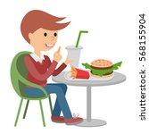 boy eating fast food. vector... | Shutterstock .eps vector #568155904
