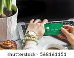 concept girl online shopping...   Shutterstock . vector #568161151