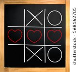 tic tac toe hearts and xo over... | Shutterstock . vector #568162705