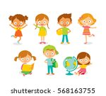 cute kids playing and learning | Shutterstock .eps vector #568163755