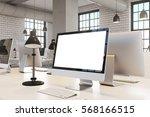 close up of a blank computer... | Shutterstock . vector #568166515