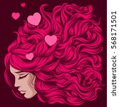 loving girl with pink long hair | Shutterstock .eps vector #568171501