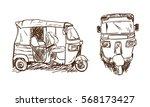 drawing tuk tuk. asian...   Shutterstock .eps vector #568173427