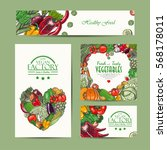 set of vector cards with fresh... | Shutterstock .eps vector #568178011