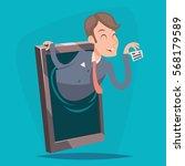 businessman agent online mobile ... | Shutterstock .eps vector #568179589