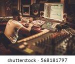 african american sound engineer ... | Shutterstock . vector #568181797