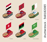 set of isometric 3d ships with... | Shutterstock .eps vector #568182085
