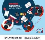 business workspace. flat design | Shutterstock .eps vector #568182304