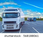 white truck is at the parking... | Shutterstock . vector #568188061