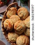 bunch of squash buns in basket   Shutterstock . vector #568198597