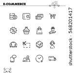 e commerce flat icon set.... | Shutterstock .eps vector #568201417