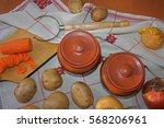 still life. harvest of variety... | Shutterstock . vector #568206961