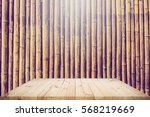 Wood Table Top With Bamboo Row...