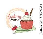 bakery logo. hand drawn...   Shutterstock .eps vector #568222651