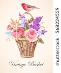 vintage basket with flowers | Shutterstock .eps vector #568224529