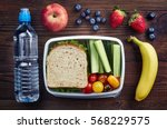 Healthy lunch box with sandwich ...