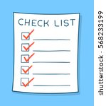 cartoon checklist with red... | Shutterstock .eps vector #568233199