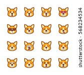 cute corgi dog emoticon | Shutterstock .eps vector #568234534