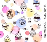 cupcakes seamless pattern with... | Shutterstock .eps vector #568243441