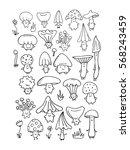 smiling mushrooms  sketch for... | Shutterstock .eps vector #568243459