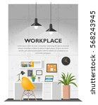 creative office interior in... | Shutterstock .eps vector #568243945