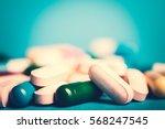 medicine green and yellow pills ... | Shutterstock . vector #568247545
