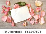 a sheet of paper and rose... | Shutterstock . vector #568247575