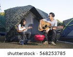 father and daughter at camping... | Shutterstock . vector #568253785