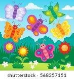 stylized butterflies theme... | Shutterstock .eps vector #568257151