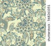 vintage pattern in indian batik ... | Shutterstock . vector #568261051