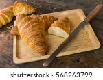 Croissants On A Tray With A...