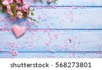 fresh pink  sakura flowers and  ... | Shutterstock . vector #568273801