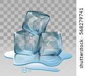 ice cube  set with transparency | Shutterstock . vector #568279741