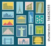 set of monuments stamps vector... | Shutterstock .eps vector #568282555