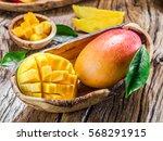 Mango Fruit And Mango Cubes On...