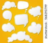 speech bubble set with yellow... | Shutterstock .eps vector #568293799