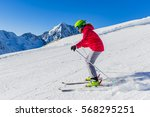 Teenage Girl Skiing In Mountai...