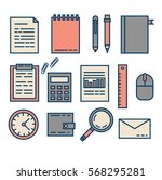 set of flat vector office icons