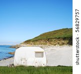 camping mobile on a sandy ocean ... | Shutterstock . vector #56829757