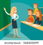 university lecture with... | Shutterstock .eps vector #568303099