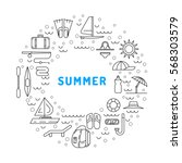icons set for summer holiday... | Shutterstock .eps vector #568303579