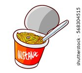 funny and yummy cup noodle... | Shutterstock .eps vector #568304515